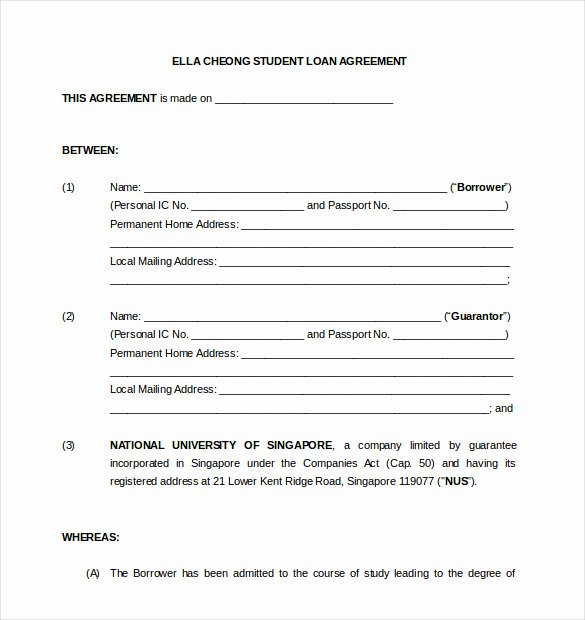 Loan Contract Template Word Elegant 19 Loan Agreement Templates – Free Word Pdf format