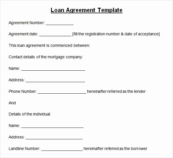 Loan Contract Template Word Luxury Sample Loan Agreement 6 Free Documents Download In Pdf