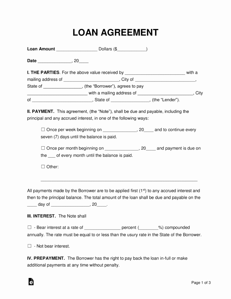 Loan Contract Template Word Unique Free Loan Agreement Templates Pdf Word