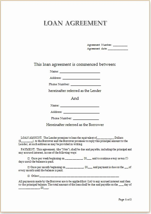 Loan Contract Template Word Unique Simple Loan Agreement