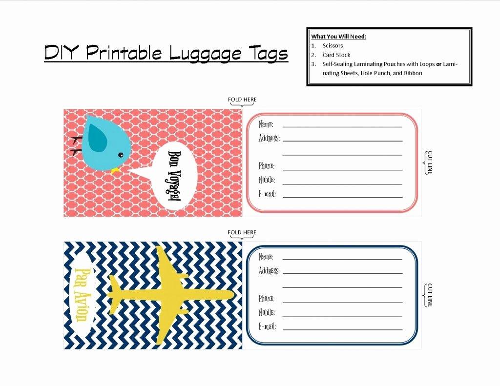 Luggage Tag Insert Template Elegant Printable Tags