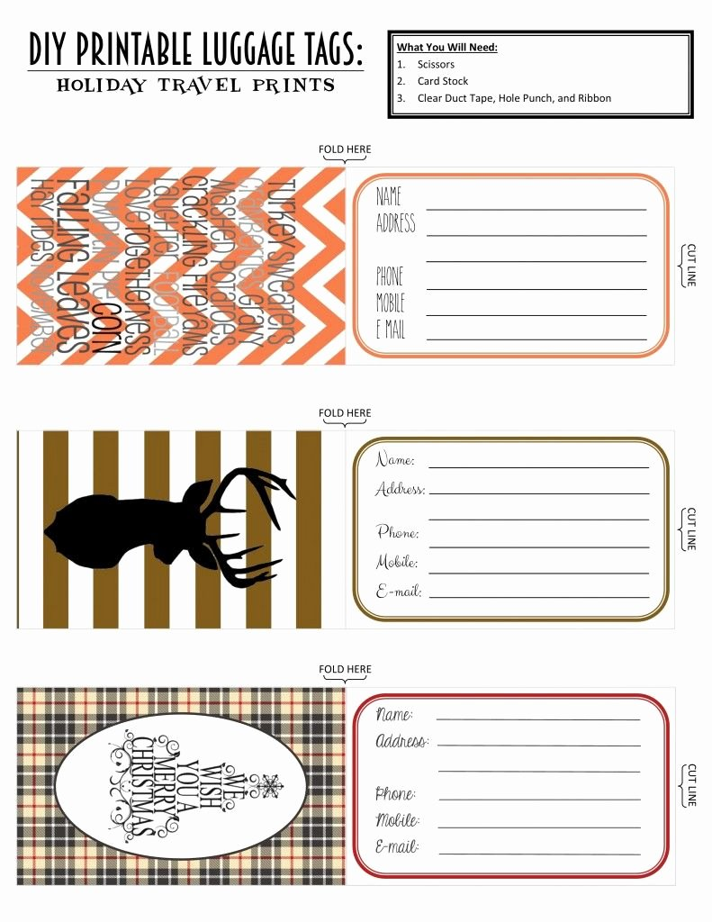 Luggage Tag Insert Template Fresh Printable Luggage Tags Holiday Travel Edition
