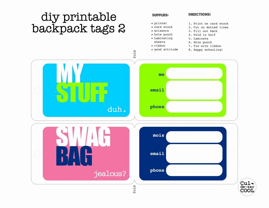 Luggage Tag Insert Template New Diy Printable Backpack Tags 2