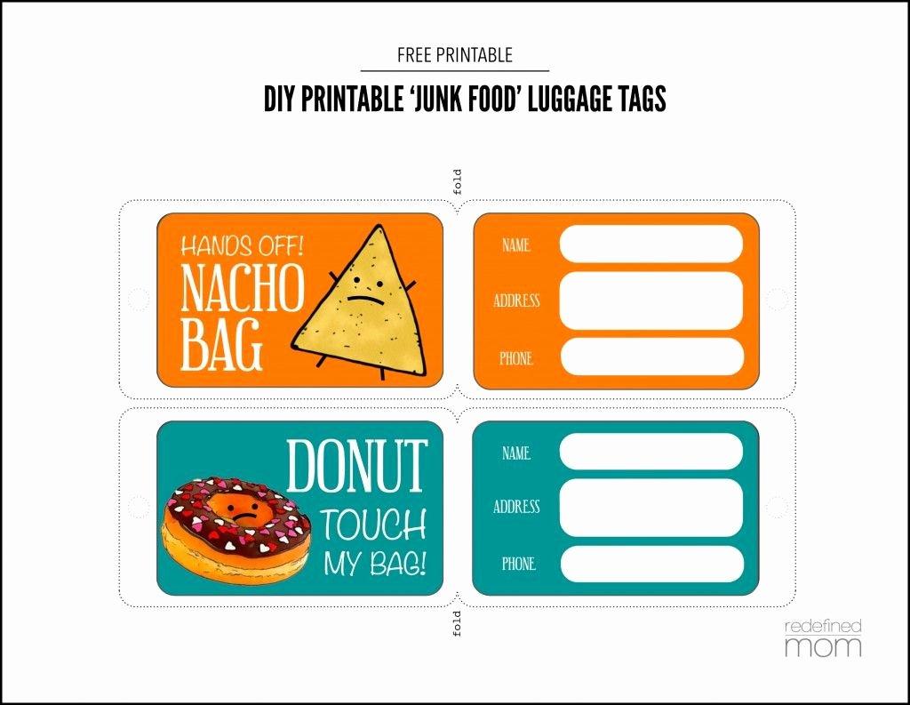 Luggage Tag Insert Template Unique Diy Printable Junk Food Luggage Tags Printable