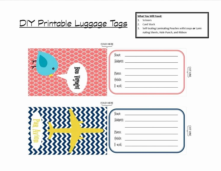Luggage Tag Insert Template Unique Printable Tags