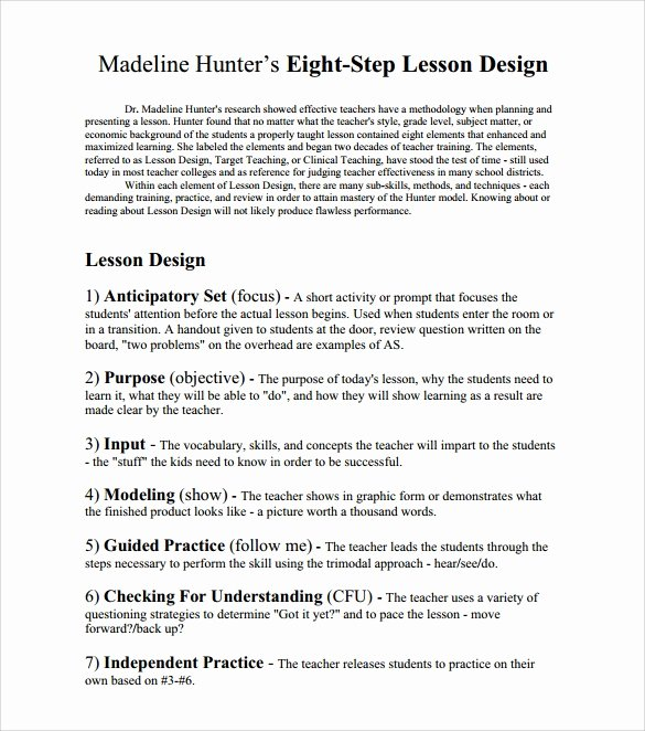 Madeline Hunter Lesson Plan Template Beautiful Sample Madeline Hunter Lesson Plan – 11 Documents In Pdf