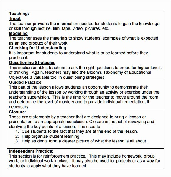 Madeline Hunter Lesson Plan Template Beautiful Sample Madeline Hunter Lesson Plan Template 9 Free