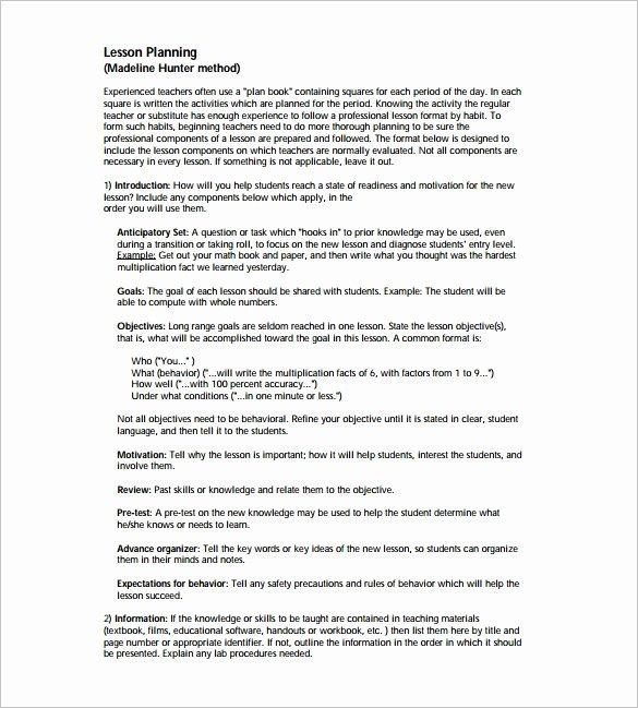 Madeline Hunter Lesson Plan Template Fresh Madeline Hunter Lesson Plan Template – 6 Free Sample