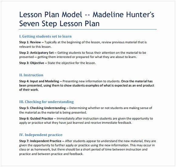 Madeline Hunter Lesson Plan Template Fresh Madeline Hunter Lesson Plan Template