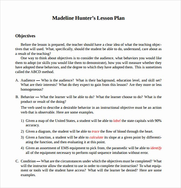 Madeline Hunter Lesson Plan Template Inspirational Sample Madeline Hunter Lesson Plan – 11 Documents In Pdf