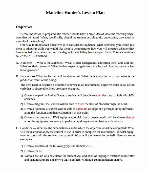 Madeline Hunter Lesson Plan Template Luxury Sample Madeline Hunter Lesson Plan Templates – 10 Free