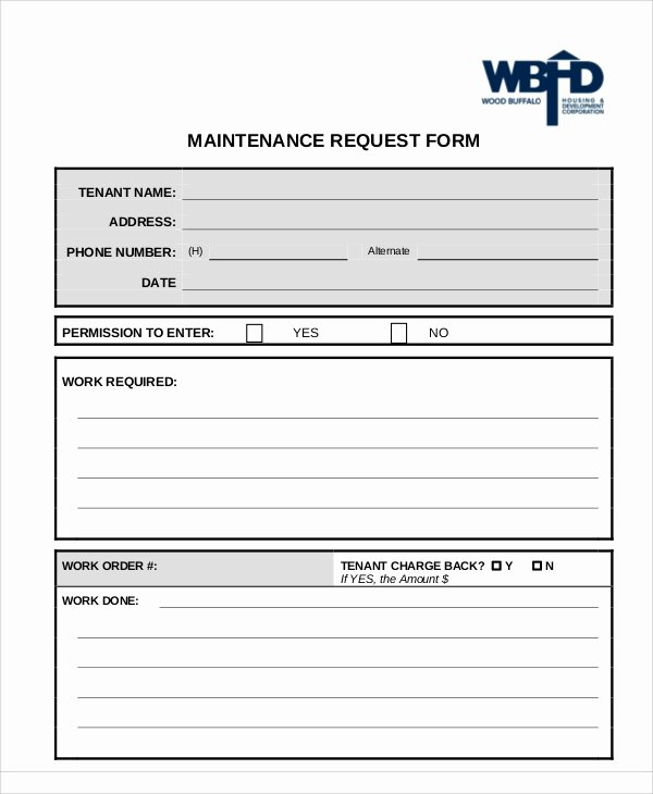 Maintenance Request form Template Elegant Sample Excel Request form 12 Examples In Excel