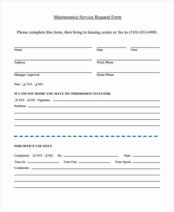 Maintenance Request form Template Fresh 21 Service form formats Pdf Doc