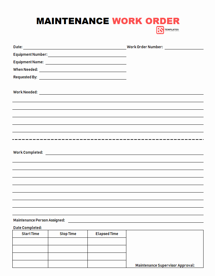 Maintenance Work order Template Elegant Work order
