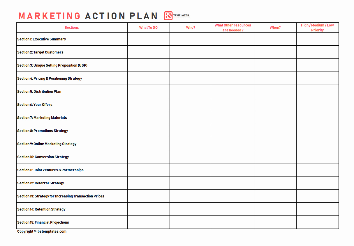 Marketing Action Plan Templates Unique Action Plan Templates – Free Templates [word