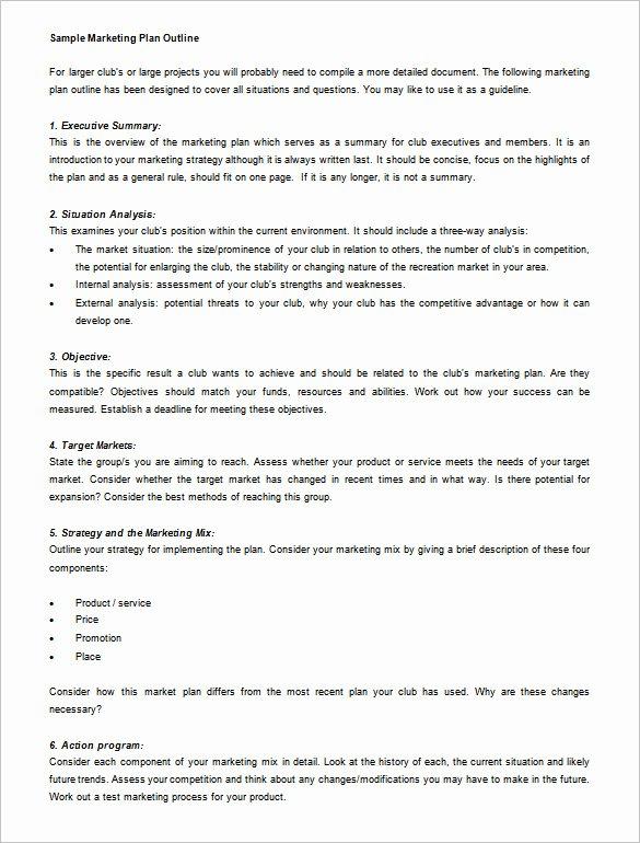 Marketing Plan Outline Template Beautiful Marketing Plan Outline Template 13 Free Sample Example