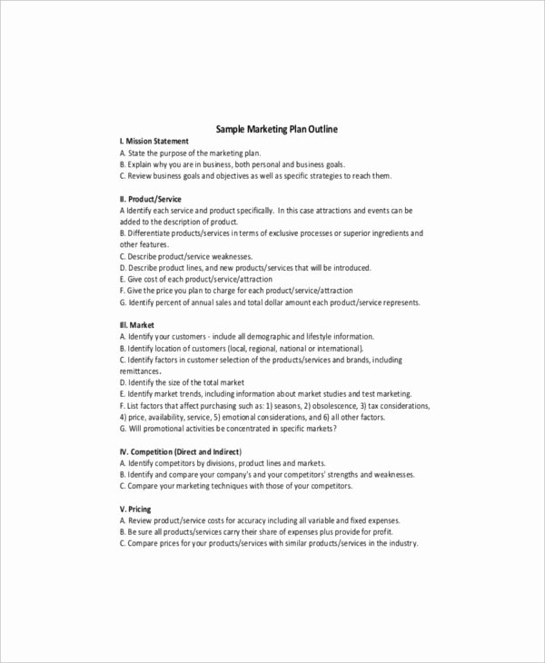 Marketing Plan Outline Template Best Of 9 Product Marketing Templates – Free Sample Example
