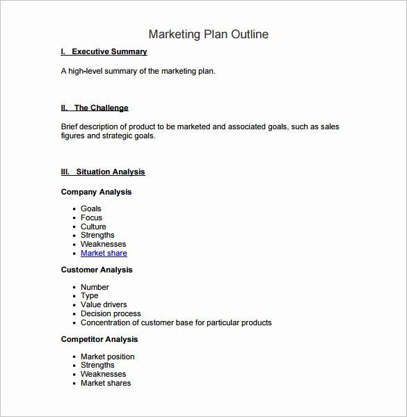 Marketing Plan Outline Template Elegant 7 Marketing Plan Outline Templates Doc Pdf Excel