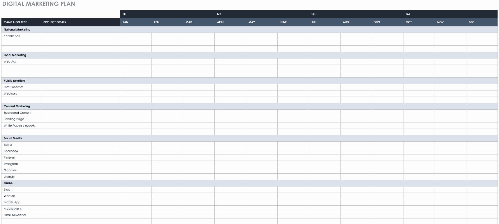 Marketing Plan Outline Template Elegant Free Marketing Plan Templates for Excel