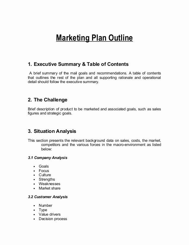 Marketing Plan Outline Template Unique Marketing Plan Outline