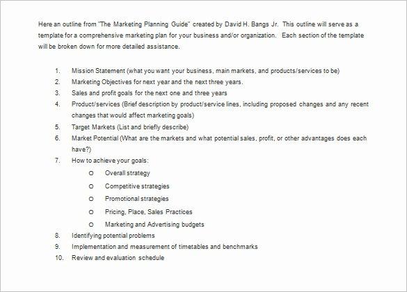Marketing Plan Outline Template Unique Marketing Plan Outline Template 13 Free Sample Example