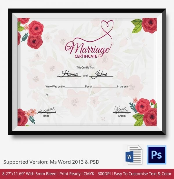 Marriage Certificate Template Microsoft Word Awesome Marriage Certificate Template 12 Free Word Pdf Psd