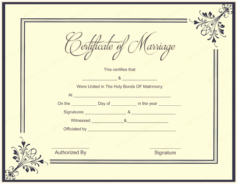 Marriage Certificate Template Microsoft Word Beautiful Document Templates February 2016
