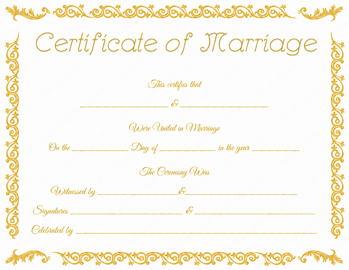 Marriage Certificate Template Microsoft Word Beautiful Printable Marriage Certificate Template Dotxes