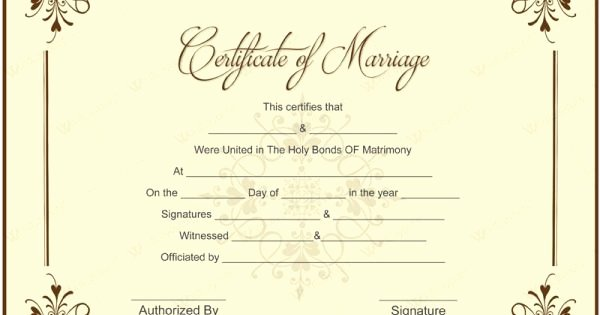 Marriage Certificate Template Microsoft Word Elegant Blank Marriage Certificate Template for Microsoft Word