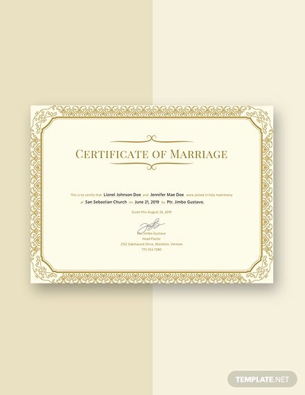 Marriage Certificate Template Microsoft Word Elegant Free Marriage Certificate Template Download 232