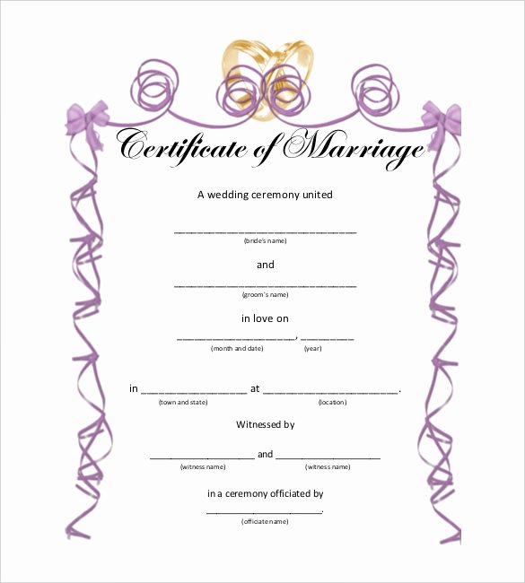 Marriage Certificate Template Microsoft Word Inspirational 10 Marriage Certificate Templates