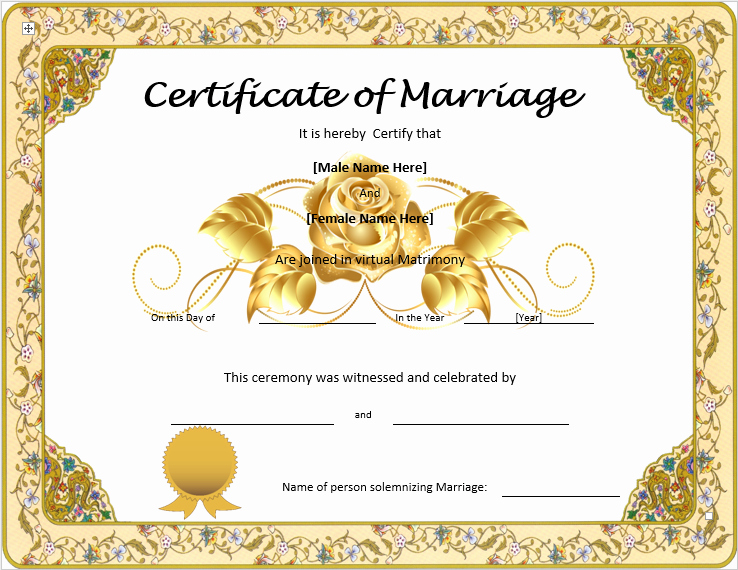 Marriage Certificate Template Microsoft Word Inspirational Marriage Certificate Template Word Templates