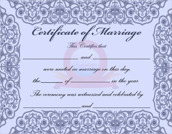 Marriage Certificate Template Microsoft Word Inspirational Sample Marriage Certificate Template 18 Documents In