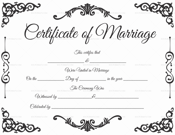 Marriage Certificate Template Microsoft Word Lovely Fillable Marriage Certificate Word Pdf – Doc formats