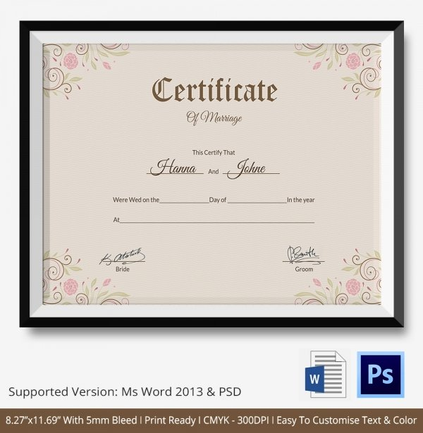 Marriage Certificate Template Microsoft Word Lovely Marriage Certificate Template 12 Free Word Pdf Psd