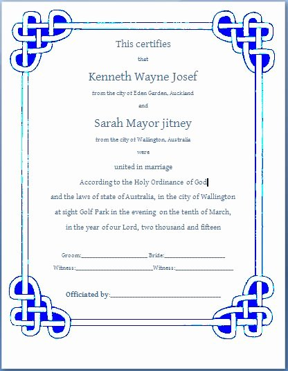 Marriage Certificate Template Microsoft Word Lovely Ms Word formal Marriage Certificate Template