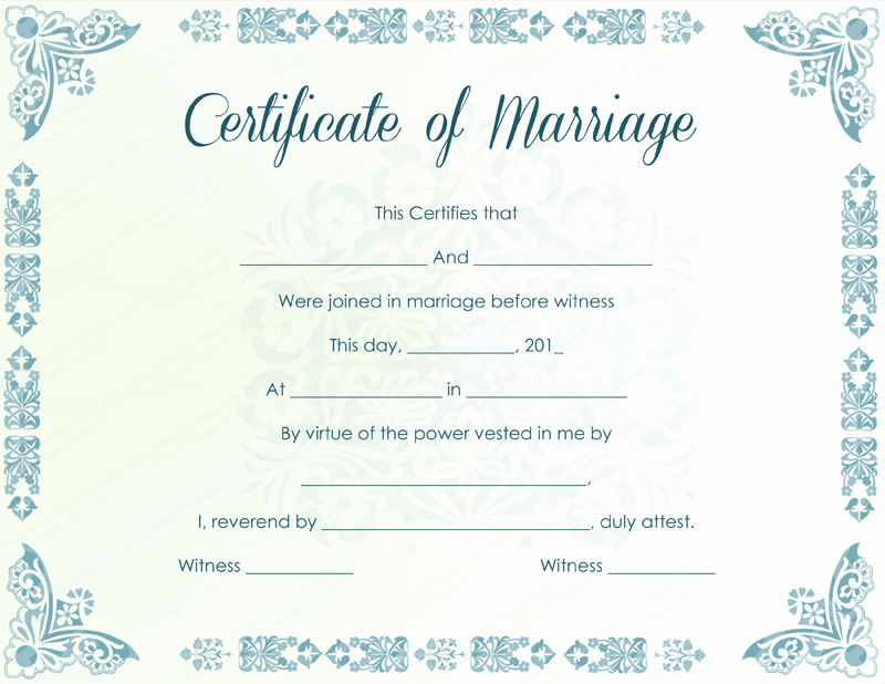 Marriage Certificate Template Microsoft Word Luxury Marriage Certificate Template 22 Editable for Word