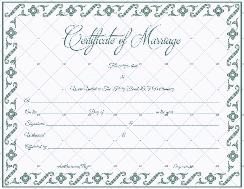 Marriage Certificate Template Microsoft Word New Fillable Marriage Certificate Template Get Certificate