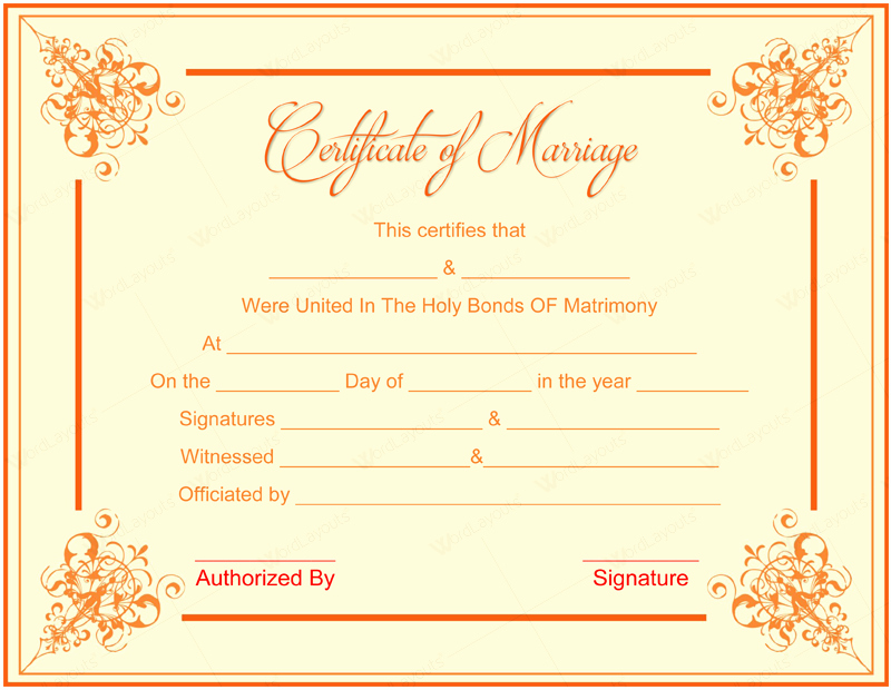 Marriage Certificate Template Microsoft Word Unique 10 Beautiful Marriage Certificate Templates to Try This Season