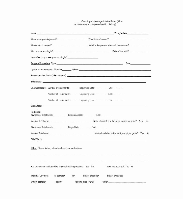 Massage Intake form Template Awesome 59 Best Massage Intake forms for Any Client Printable