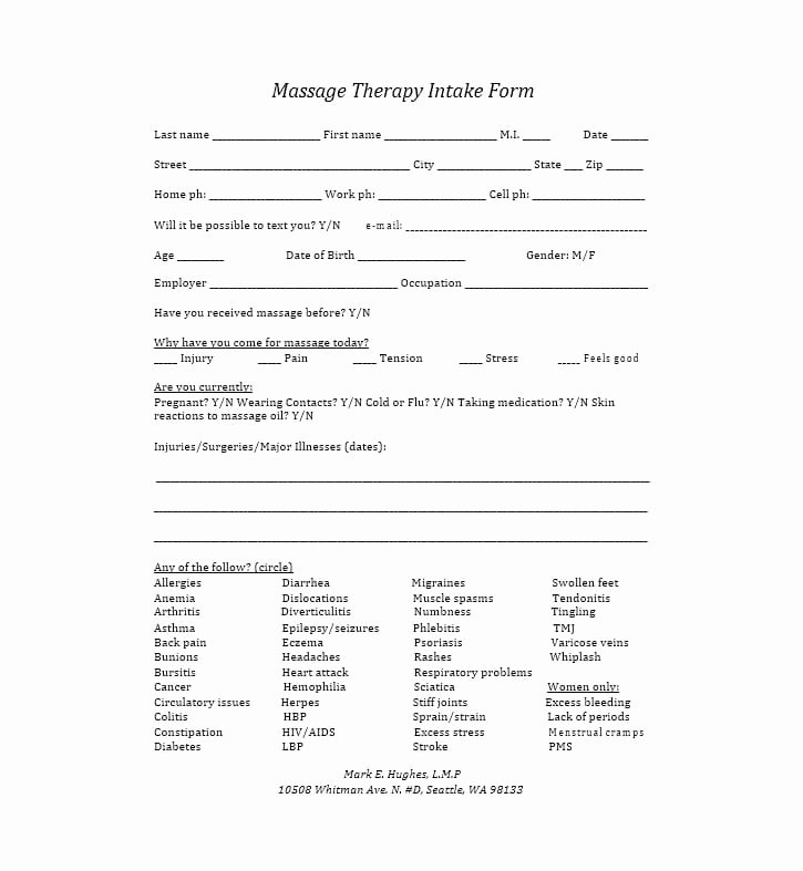 Massage Intake form Template Best Of 59 Best Massage Intake forms for Any Client Printable