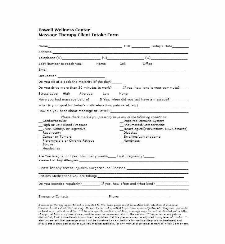 Massage Intake form Template Elegant 59 Best Massage Intake forms for Any Client Printable