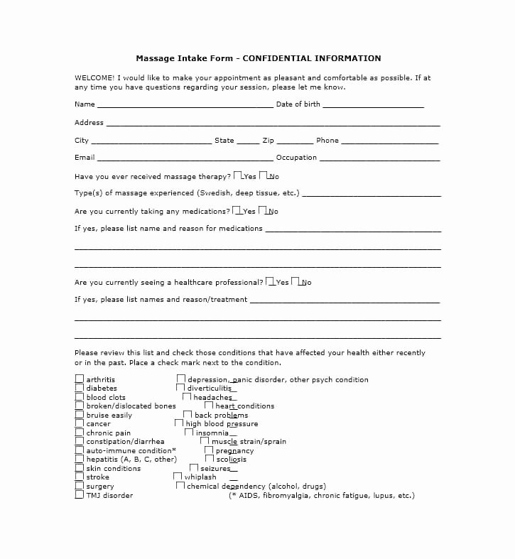 Massage Intake form Template Fresh 59 Best Massage Intake forms for Any Client Printable
