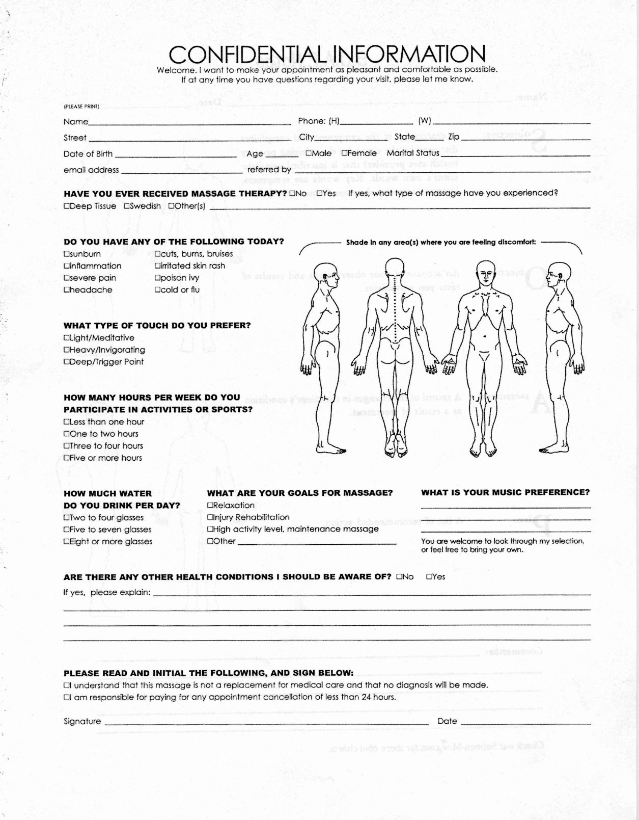Massage Intake form Template Fresh Intakeform 1 255×1 609 Pixels Massage