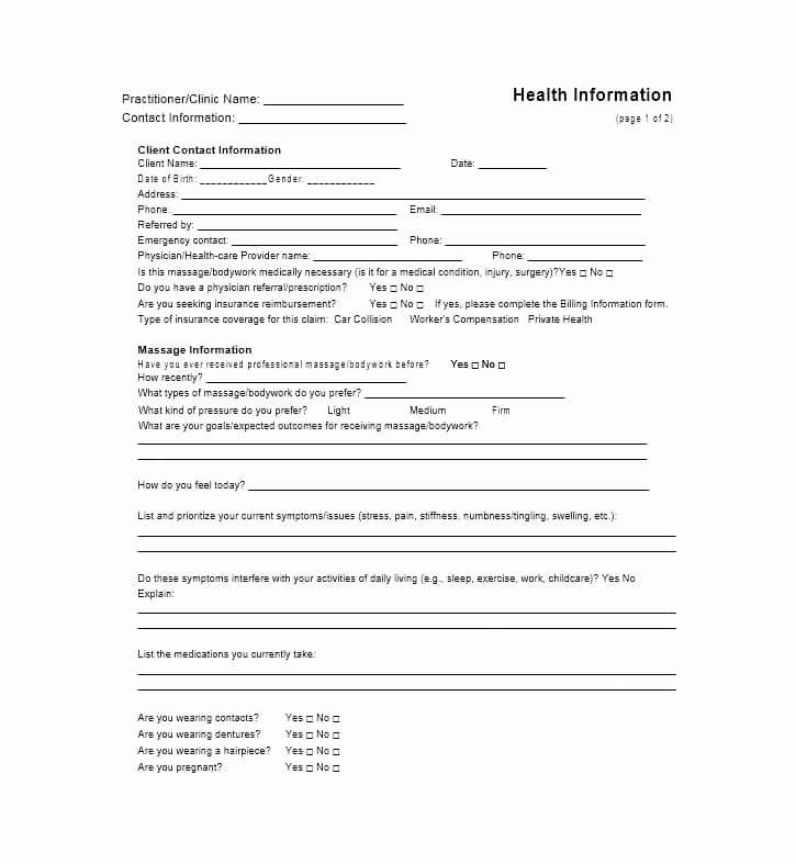 Massage Intake form Template Inspirational 59 Best Massage Intake forms for Any Client Printable