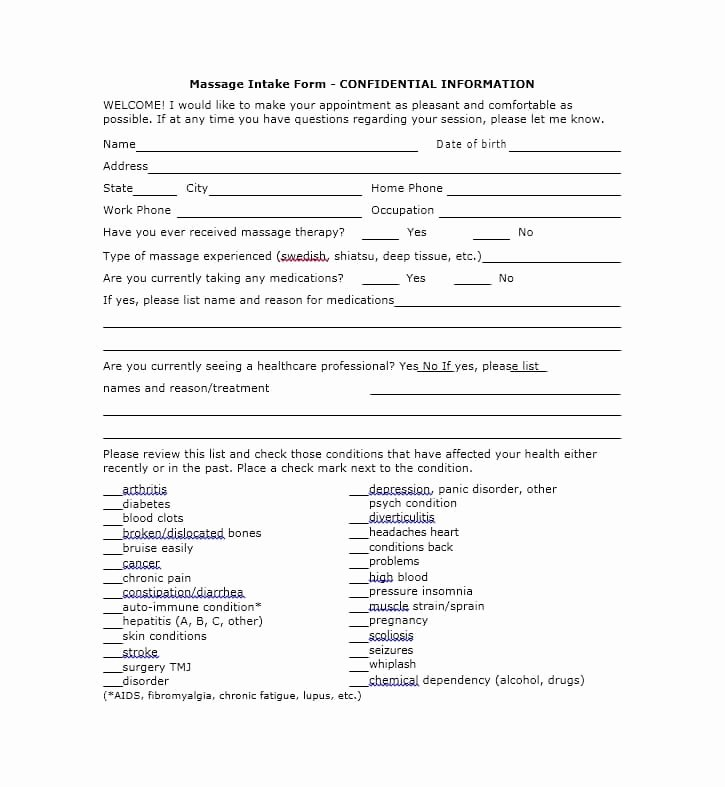 Massage Intake form Template Luxury 59 Best Massage Intake forms for Any Client Printable