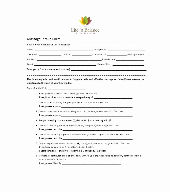 Massage Intake form Templates Awesome 59 Best Massage Intake forms for Any Client Printable