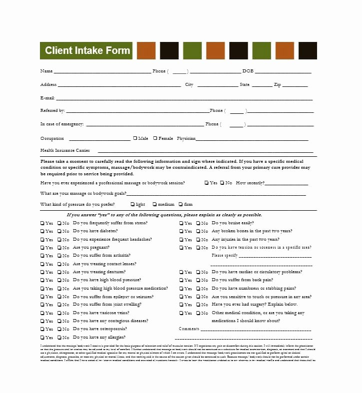 Massage Intake form Templates Best Of 59 Best Massage Intake forms for Any Client Printable