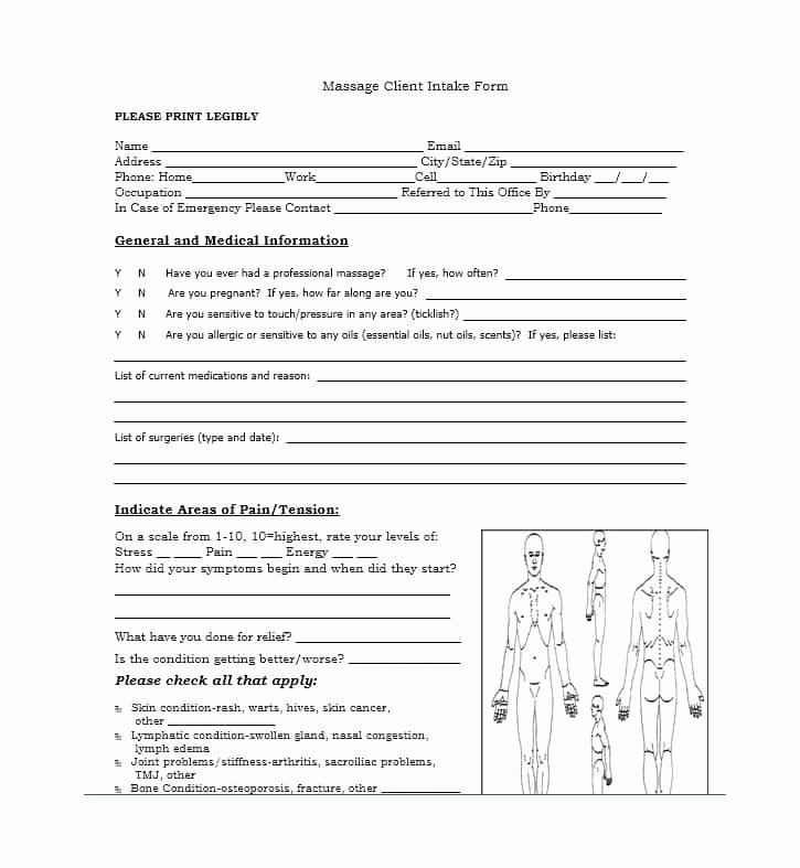 Massage Intake form Templates Elegant 59 Best Massage Intake forms for Any Client Printable