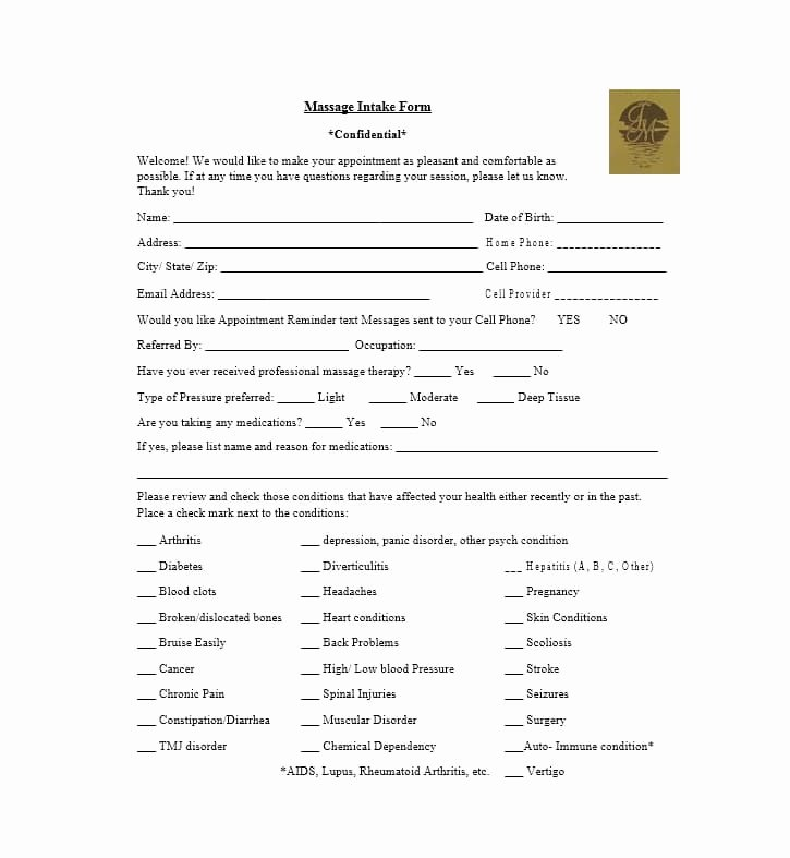 Massage Intake form Templates Fresh 59 Best Massage Intake forms for Any Client Printable